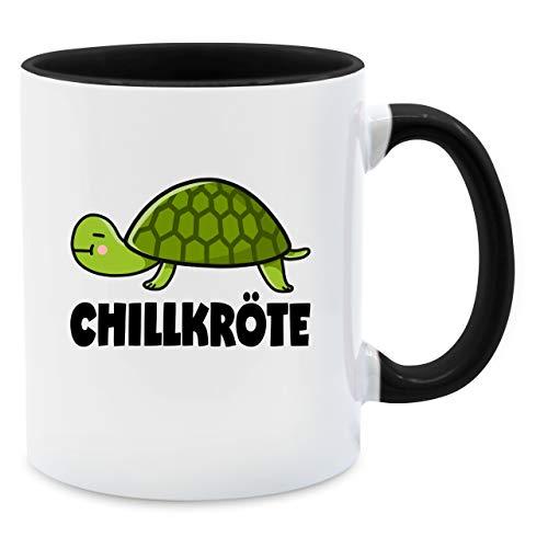 Shirtracer Statement Tasse - Chillkröte - Unisize - Schwarz - Statement Tasse chillkröt - Q9061 - Kaffee-Tasse inkl. Geschenk-Verpackung