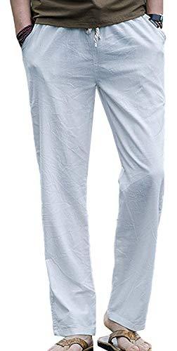 Mieuid heren broek losse linnen stoffen broek vrije tijd chic stoffen broek uit trekkoord lang slim fit broek broek broek broek broek