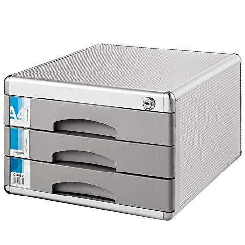 CaoQuanBaiHuoDian Praktisches Design File Cabinet Aufbewahrungsbox Büromöbel Abschlussbarer Aktenschrank 3-Schubladen-Datei-Magazin-Kabine-Speicher-Schublade Aktenschrank für Studenten