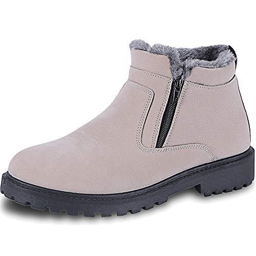 HOAPL Heren High Top lederen laarzen met verwarmend imitatiebont, antislip voering met ritssluiting
