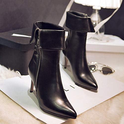 HRCxue schuhe de la Corte Stiefel de Punto con Solapa de 7,5 cm de tacón Alto con Cremallera Lateral en el talón con Cremallera Lateral, Stiefel Negras de Pippi, 39