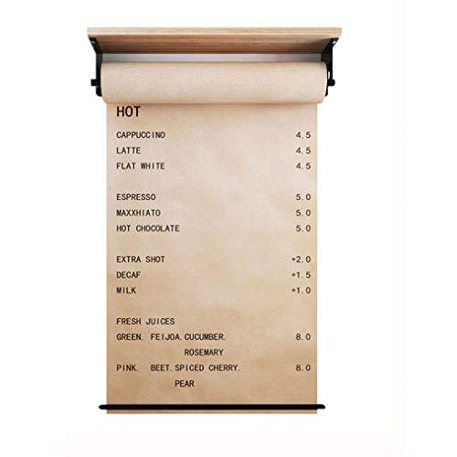 Dispensador de papel kraft para montar en la pared, con barra cortadora para lista de precios de cafetería, lista de menús del día del restaurante, descripción de la tienda de postres, notas de dibujo de estudio