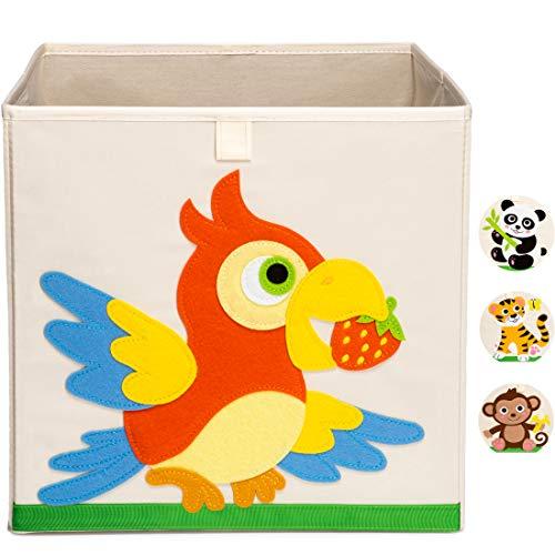 Ceria Star Kinder Aufbewahrungsbox | Spielzeug Box (33x33x33) mit Tiermotiven für Baby- und Kinderzimmer | Faltbare Spielzeugkiste zur Aufbewahrung im Kallax Regal | Papagei
