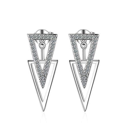 Pendientes Mujer Pendientes Colgantes Geométricos De Doble Triángulo De Circonita Micro Cz De Moda De Plata De Ley 925 para Mujer Pendientes Plata
