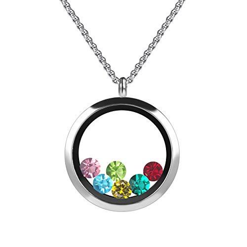 Meilanty Damen Halskette Magnet Floating Charms Living Memory Lockets Anhänger Kette 60+5cm