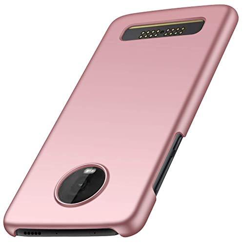 FanTings Capa para Motorola Moto Z4 Play, [ultrafina] [antiqueda] [sensação de seda] Capa protetora para celular PC rígida para Motorola Moto Z4 Play-Rose Gold