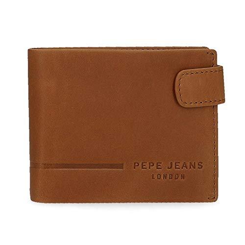 Pepe Jeans Ander Cartera Horizontal con Cierre de Clic Marrón 11x8,5x1 cms Piel