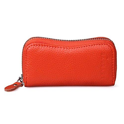J-Roland Bunte Natur Leder Handliches Büffelleder Schlüsselmäppchen Autoschlüssel Tasche mit Schlüsselring Kette (Orange)