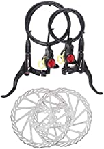 BUCKLOS ?US Stock? Mountain Bike Disc Brake Sets, Hydraulic Disc Brakes with Rotor 160mm, Left Rear/Right Front, Durable Bicycle Brakes PM/is Adapter Fit for MTB BMX, Black/Red