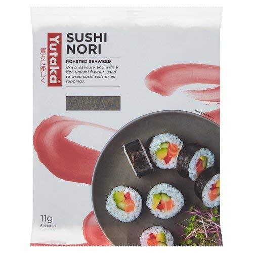 Yutaka Sushi Nori Algenblätter - 5 Stück - Perfekt für Sushi Rolls (Packung mit 1 Stück)