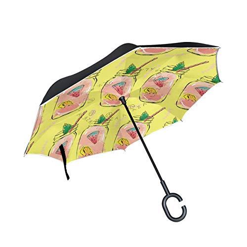 Hermoso paraguas invertido de doble capa de jirafa, mango en forma de C, paraguas plegable inverso, resistente al viento, paraguas grande de pie para uso al aire libre