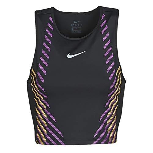 NIKE Top Runway Gx T-Shirt Camiseta para Mujer, Negro y Plateado, Extra-Small