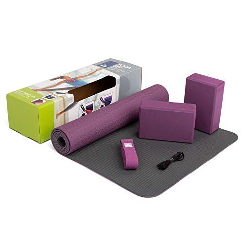 "YogaSet\""Flow\"" (lila), 1 Yogamatte aus TPE, 2 Yoga-Bricks aus EVA (Moosgummi), 1 Yoga-Gurt aus Baumwolle, Einsteiger-Set, Yoga-Set für Anfänger"