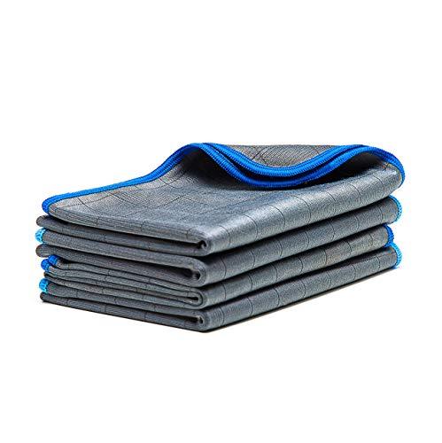 LICARGO® 4X Premium Carbon Microfaser Glastücher - 50x40cm - fusselfreie Mikrofasertücher für streifenfreie Scheiben & Fenster - Poliertuch aus Carbonfaser - Auto Microfiber Putztuch/Waffeltuch