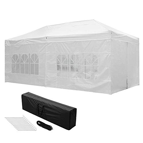 Yescom 10x20 FT Easy Pop Up Canopy Folding Wedding Party Tent with Removable Sidewalls & Carry Bag Outdoor White
