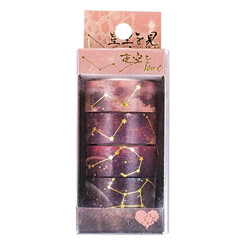 Lezed Cinta adhesiva decorativa Washi Tape para scrapbooking DIY Manualidades Diseño de Cielo Estrellado y Flores de Cerezo Cinta de Papel Washi para Revistas, planificadores, tarjetas 4pcs (Marrón)