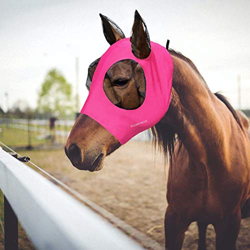 Sampson Horse Fly Mask,Fly Masks for Horses with Ears, Smooth & Elasticity Lycra Fly Mask, Equine Fly Repellent and UV Protection, Full Size for Pony&Cob&Horse(Small, Pink)