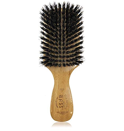Bass Brushes 100% Wild Boar Bristle Classic Men's Club Style Hair Brush, with 100% Pure Bamboo Handle, Shines, Conditions, and Polishes. Model #153