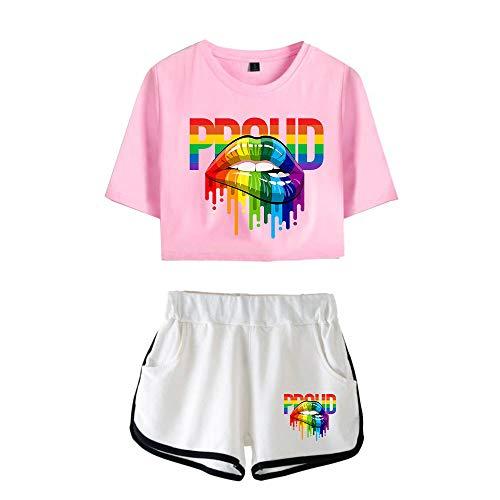 JIYINJIA Mujer LGBT Gay Pride Crop Top + Shorts 2 Piezas Conjunto Deportivo Rainbow Proud Impreso Camiseta y Pantalones Cortos Verano Pijama Set Outfit Casual Ropa Deportiva