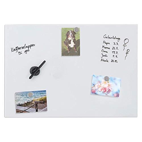 Bakaji Pizarra magnética con superficie de escritura de cristal blanco, tablón de pared con rotulador borrable y 3 imanes, fácil de instalar en la pared, diseño moderno (80 x 50 cm)