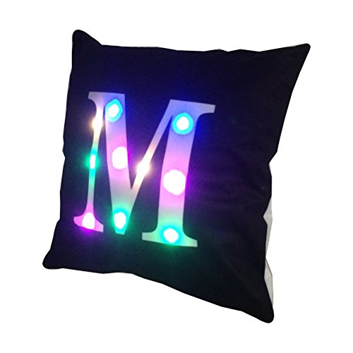 ZUODU Black LED Colorful Lighting Velvet Letter Cushion Cover Pillow Cover Bar Use Party Use Festival Use Gift Use18 x18 Inches or 45 x 45 Cm 1pc M black
