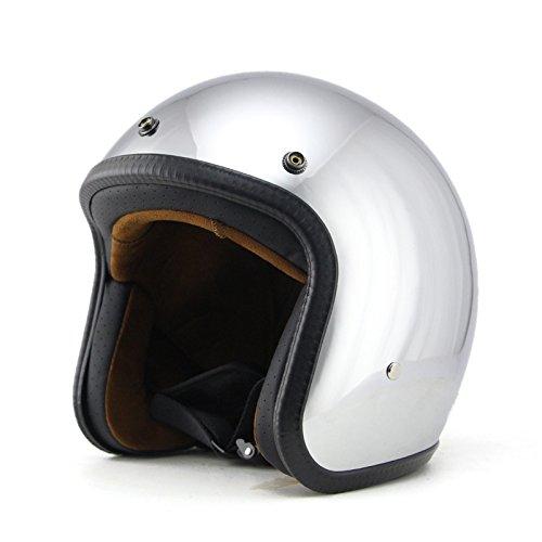 Woljay 3/4 Offener Sturzhelm, Helmet Motorrad-Helm Jet-Helm Scooter-Helm Vespa-Helm Halbhelme Motorrad Helm Flat Chrom (L)