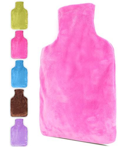 ONKING Wärmflasche mit Kängurutasche,Geben Warm Schneller Weiche Warme Wärmflaschen mit Fleecebezug in Rosa 2 Liter