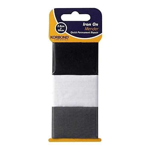 KORBOND Pack de 3 Tiras de Tela reparadora termoadhesiva Blanca, Negra y Gris, para Reparar Ropa de Forma Permanente, Negro, Blanco Y Gris, 50 cm x 3,8 cm Cada una