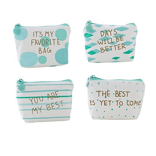 Tinmall 4 Stück Canvas kleine Täschchen mit Reißverschluss, Mini Portemonnaie für Frauen Kinder, Kleingeld Täschchen Mädchen Geldbörse Münzbeutel Schlüsseltasche, Farbe Grün
