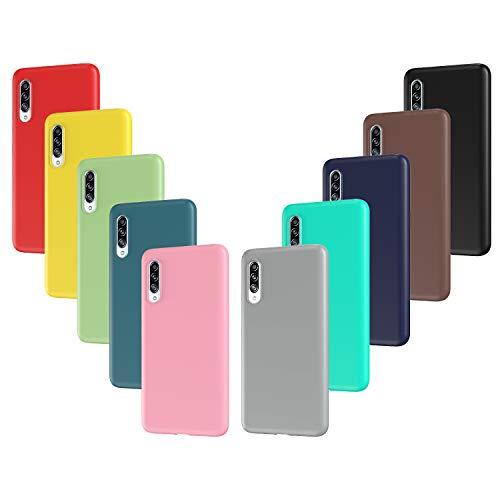 ivoler 10x Hülle für Samsung Galaxy A90 5G, Ultra Dünn Tasche Schutzhülle Weiche TPU Silikon Handyhülle Hülle Cover (Schwarz, Grau, Dunkelblau, Himmelblau, Blau, Grün, Rosa, Rot, Gelb, Braun)