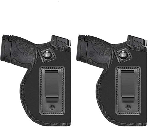 Anjilu 2 Pack Universal IWB Holster for Concealed Carry | Inside The Waistband | Fits S&W M&P Shield/Glock 26 27 29 30 33 42 43 / Springfield XD XDS/Ruger LC9