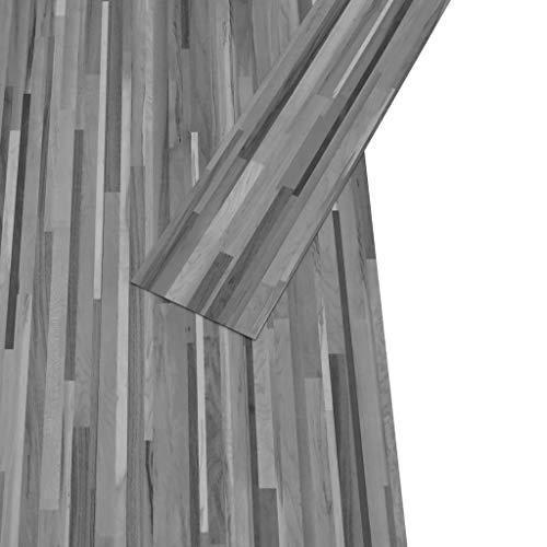 Irfora PVC-Laminat-Dielen PVC-Fußboden-Set Selbstklebend Dunkelgrau Vinyl Bodenbelag Bodenbelag-Set 4,46 m² 3 mm Wärmeisolierend und Schalldämmpfend Gestreift Grau