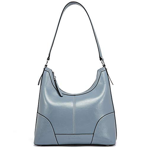 BOSTANTEN Damen Leder Handtaschen Designer Schultertasche Hobo Taschen Henkeltaschen Tote Bag Hellblau