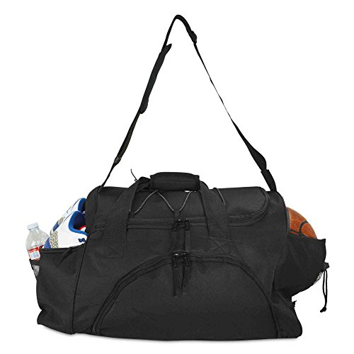 DALIX 24' The Dagger Basketball Duffle Bag Sports Shoe Ball Holder Duffel w Shoulder Strap and Water Bottle Holder in Black