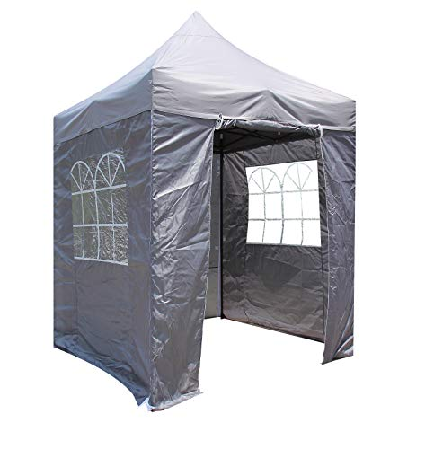 All Seasons Gazebos, Choice Of 5 Colours, 2x2m Heavy Duty, Fully Waterproof, Premium Pop Up Gazebo With 4 x Zip Up Side Panels, Carry Bag With Wheels and 4 x leg weight bags (Metallic Grey)