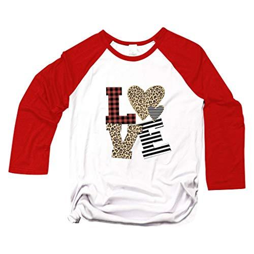 Camiseta día de San Valentín de Mujer y Hombre,ZODOF Camiseta Manga Corta Mujer Verano t-Shirts Impresión del corazón del Amor Cuello Redondo Camiseta Tops floryday Blusas Elegantes