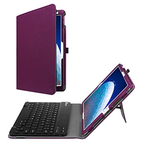 """Fintie Keyboard Case for iPad Air 3rd Gen 10.5"""" 2019 / iPad Pro 10.5"""" 2017 - Premium PU Leather Folio Stand Protective Cover with Removable Wireless Bluetooth Keyboard (Purple)"""