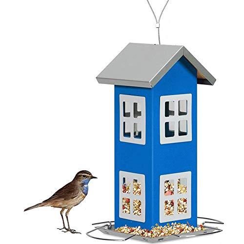 FORYOURS - Pajarera grande para pájaros, comedero para pájaros salvajes, color blanco, Windows doble capa de alambre de plástico Lanyard PVC para pájaros, color azul