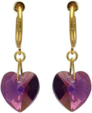 CERCEAU VALENTINE Gold Plated lilac AB Heart Crystal Clip On Earrings