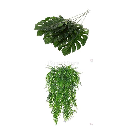 Serenable 12pcs Artificial Ivy Vine&Monstera Leaves Garland Vine Plant