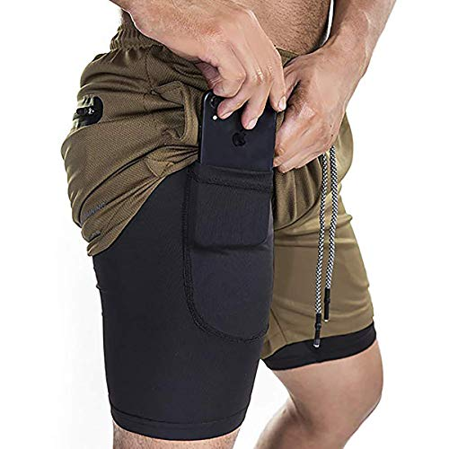 KINRO Men's 2 in 1 Running Shorts Workout Training Gym Compression Tight Shorts with Zipper Pockets Brown