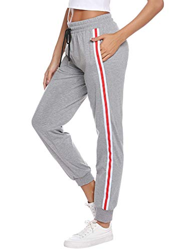 Sykooria Damen Jogginghose Sporthose Lang Yoga Hosen Freizeithose Laufhosen Baumwolle High Waist Trainingshose für Frauen mit Streifen-Streifen-grau-L