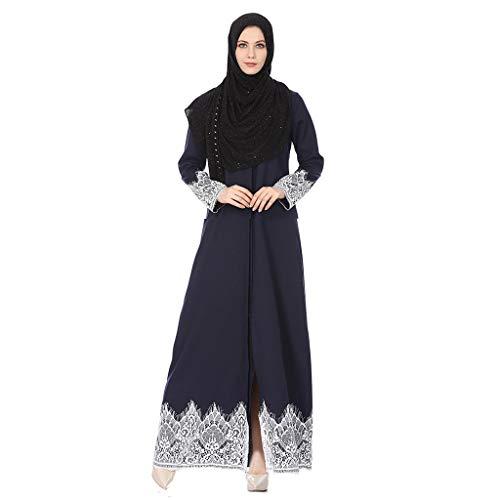 Zegeey Damen Muslimische MaxiKleid Langarm Spitze Abendkleider Elegant Kleider Modest Muslim Frauen Hochzeit Kleid Kleidung Islamischen Saudi-Arabien Kleid Rockabilly Kleid(Blau,S)