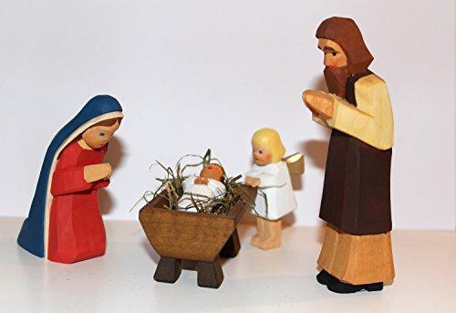 Lotte Sievers-Hahn Krippenfiguren Set Heilige Familie und Engel im Baumwollbeutel (Krippenkind braun, Engel blond)