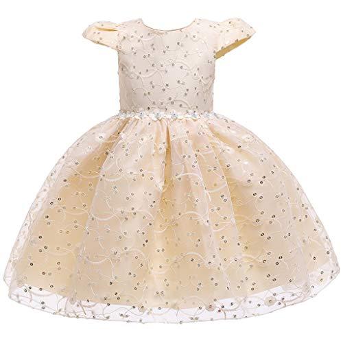 Zegeey Kleinkind MäDchen Lace äRmellose Kleid Party KostüM TüLl Cosplay Kleidung Festliche Geburtstag Geschenk TräGerkleid(Beige,110-120)