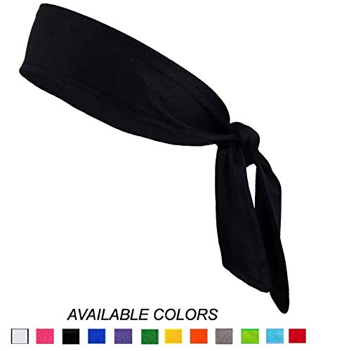 Headbands Tie on Headband for Women Men Head Tie Running Athletic Hair Band Elastic Sports Sweat Bands Basketball Sweatband Stetchy Yoga Workout Sweatbands Adjustable Non-Slip Moisture Wicking (Black)
