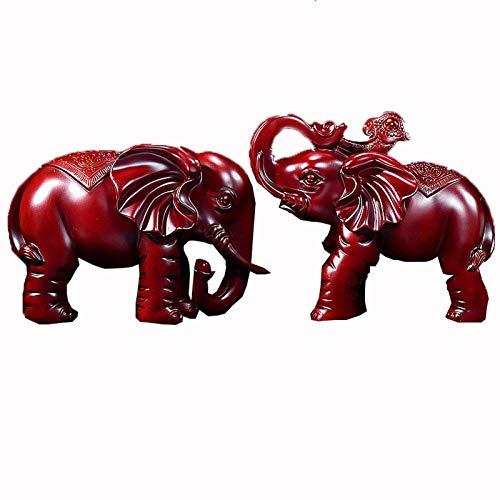 PANGPANGDEDIAN Decoracion El Elefante Decora un par de Decoraciones Lucky Craft, Usado en la Entrada de la Sala de Estar, televisión, Armario for vinos, decoración estantería (Color : Red)
