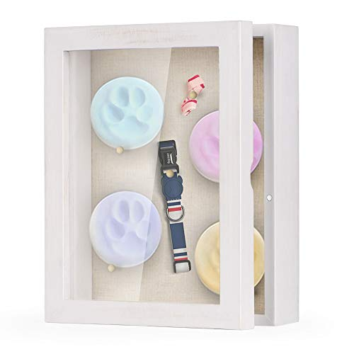 Love-KANKEI Shadow Box Frame 8x10 Shadow Box Display Case with Linen Back Memorabilia Awards Medals Photos Memory Box Rustic White