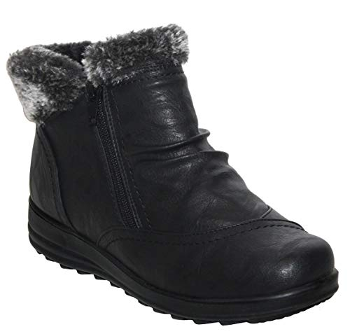 Cushion Walk Womens Ladies Lightweight Zip Up Fur Lined Girls Warm Casual Comfort Winter Ankle Boots UK Sizes 4-8 (UK 7, Black)