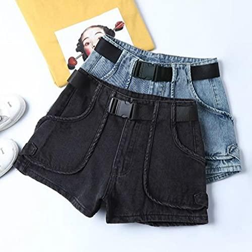 ShFhhwrl Pantaloncini per Donnas Pantaloncini Donna Estate Denim Slim Tutto-Fiammifero Tempo Libero Moda Donna Solid XXXL 3021-Nero